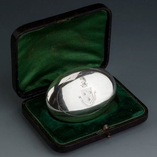 "Silver Tobacco Box ""My Strength Is From Above"""