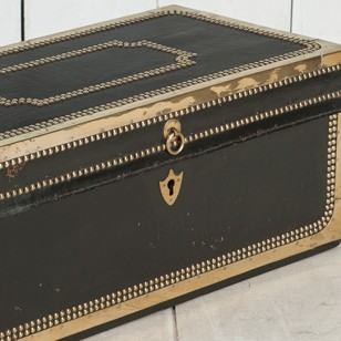 Chinese-Export Studded Leather Travelling Trunk