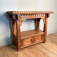 Arts & Crafts Gothic Oak Console Table